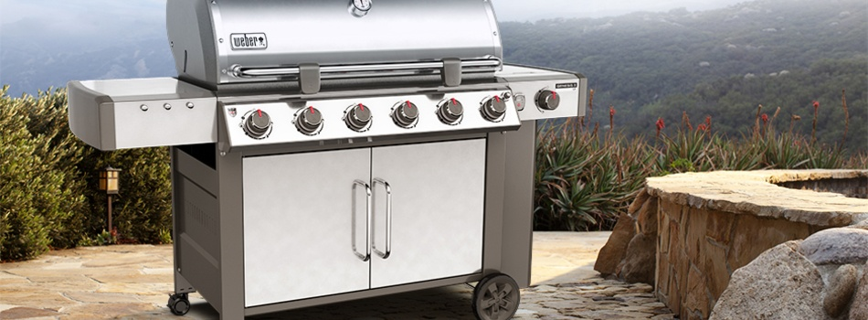 weber grill on a mountain side