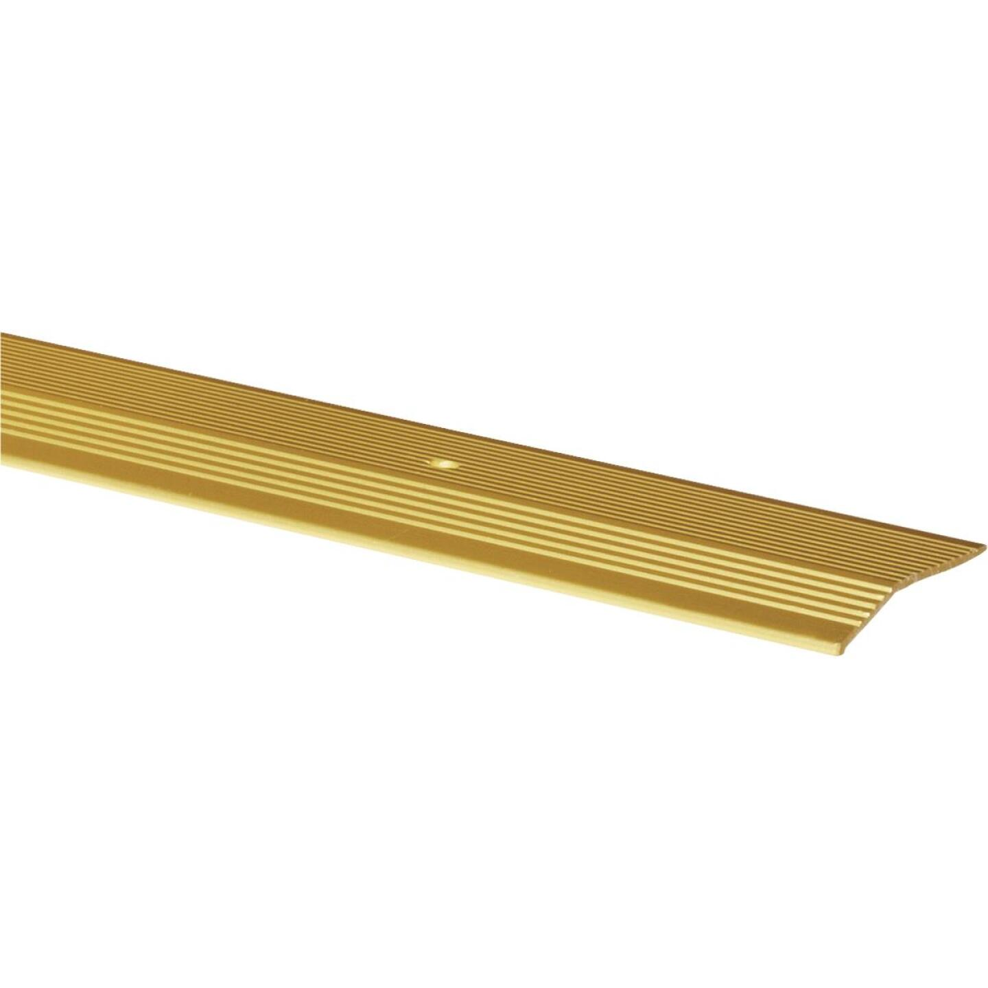 M-D Satin Brass Fluted 2 In. x 6 Ft. Aluminum Carpet Trim Bar, Extra Wide Image 1