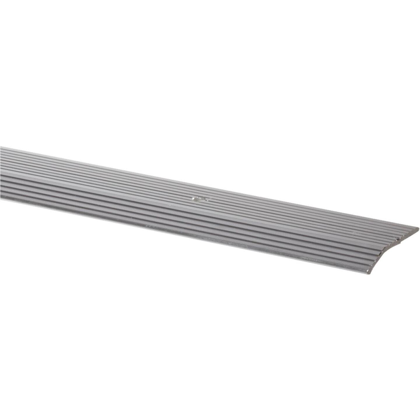 M-D Satin Silver Fluted 1-3/8 In. x 6 Ft. Aluminum Carpet Trim Bar, Wide Image 1