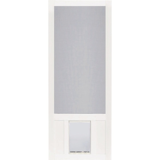 Screen Tight Chesapeake 32 In. W x 80 In. H x 1 In. Thick White Vinyl Screen Door w/XL Pet Door