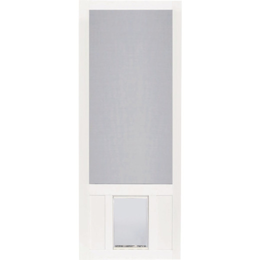 Screen Tight Chesapeake 36 In. W x 80 In. H x 1 In. Thick White Vinyl Screen Door w/XL Pet Door