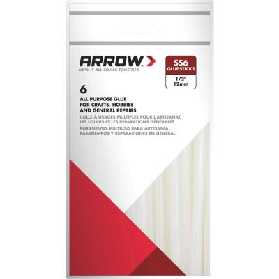 Arrow 4 In. Standard Clear Slow Set Hot Melt Glue (6-Pack)