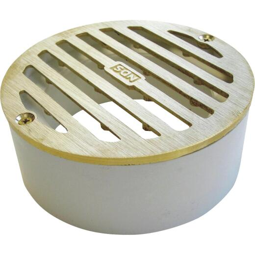 NDS 3 In. Satin Brass PVC Round Grate with Collar