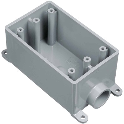 Carlon 1-Gang PVC Molded Rigid Non-Metallic Dead-End Termination Wall Box, 1 In. Outlet