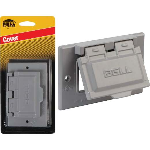 Bell Single Gang Horizontal GFCI Aluminum Gray Weatherproof Outdoor Electrical Cover