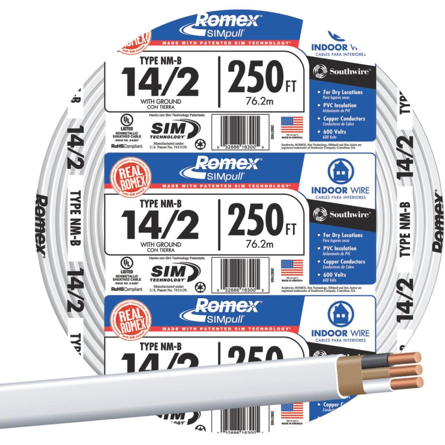 Romex 250 Ft. 14-2 Solid White NMW/G Wire Image 1