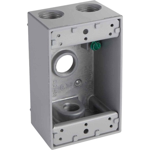 Bell Single Gang 1/2 In. 4-Outlet Gray Aluminum Weatherproof Electrical Outdoor Outlet Box