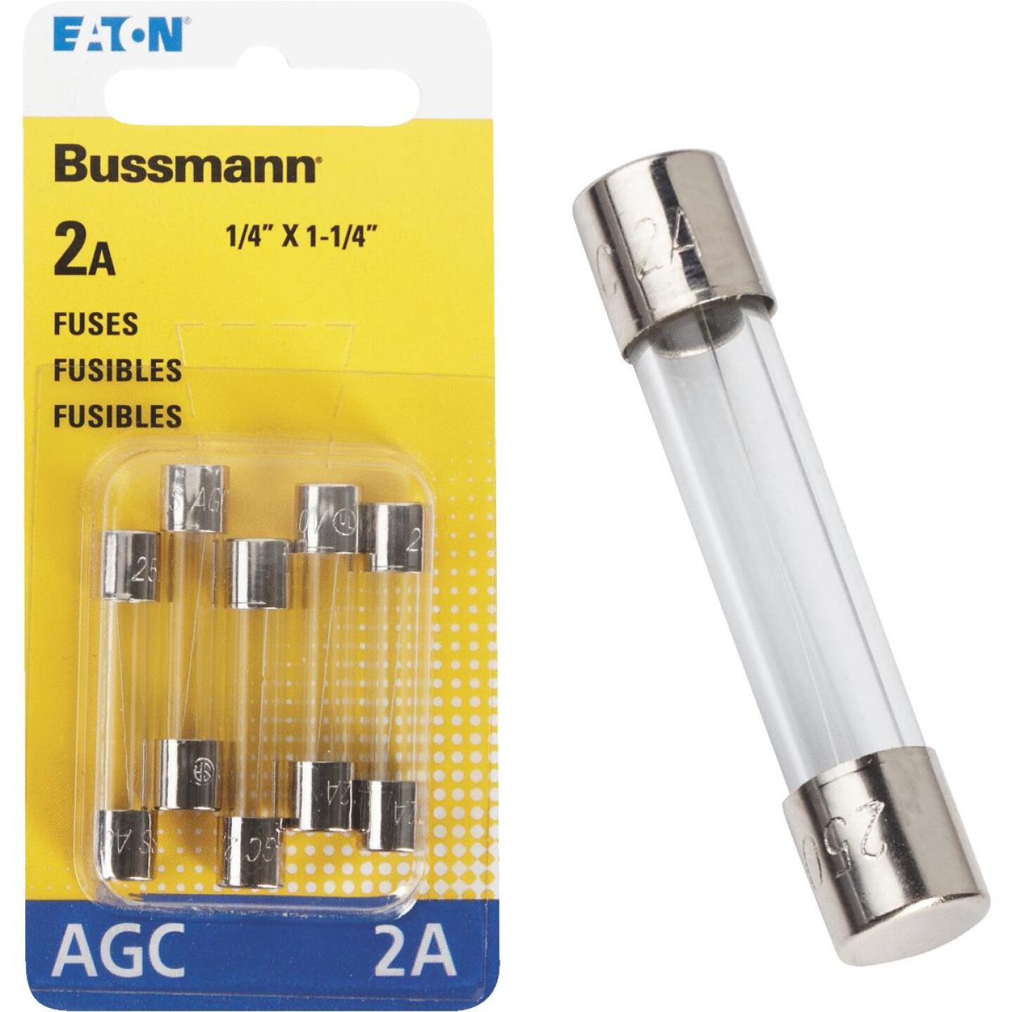 Bussmann 2-Amp 250-Volt AGC Glass Tube Automotive Fuse (5-Pack) Image 1