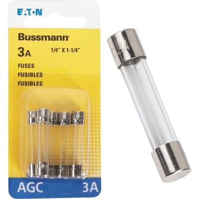 Bussmann 3-Amp 250-Volt AGC Glass Tube Automotive Fuse (5-Pack)