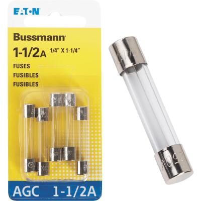 Bussmann 1-1/2-Amp 250-Volt AGC Glass Tube Automotive Fuse (5-Pack)