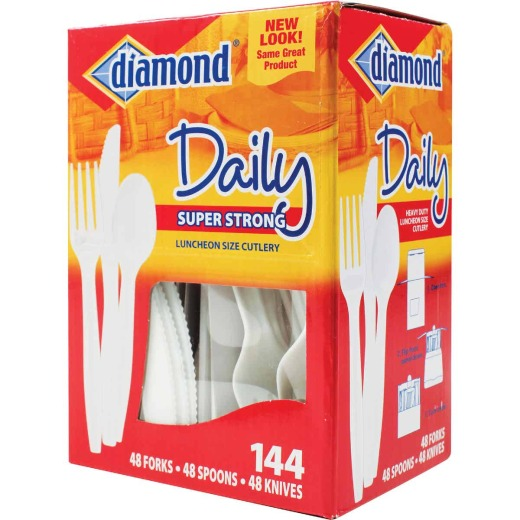 Diamond Heavy-Duty Plastic Cutlery Set (144 Piece)
