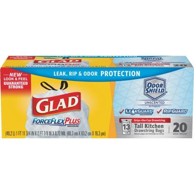Glad ForceFlex Plus 13 Gal. Tall Kitchen White Trash Bag (20-Count)