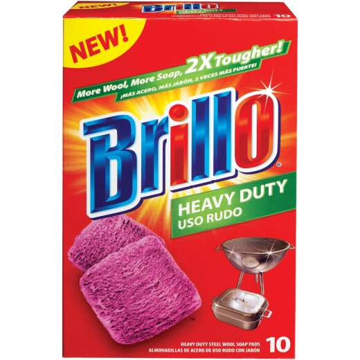 Brillo Heavy Duty Steel Wool Scouring Pad (10 Count)