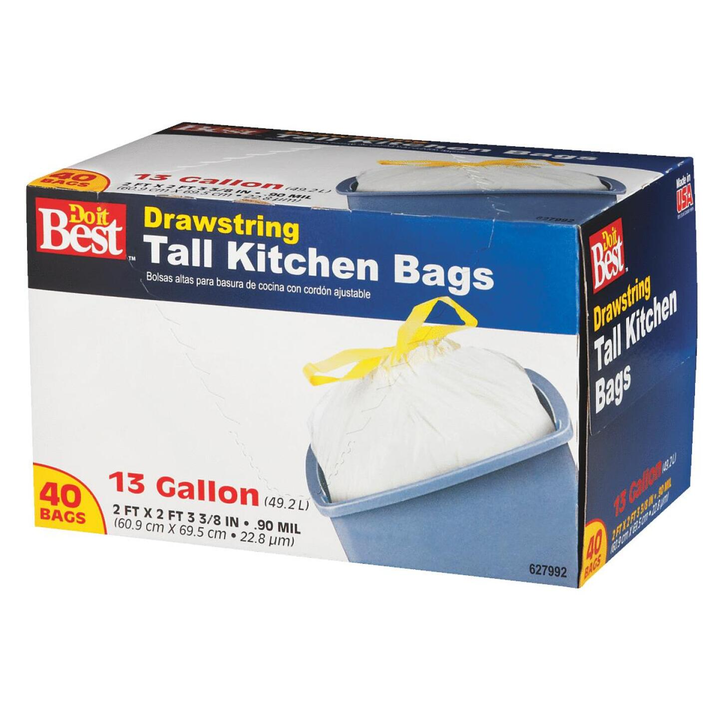 Do it Best 13 Gal. Tall Kitchen White Trash Bag (40-Count) Image 2