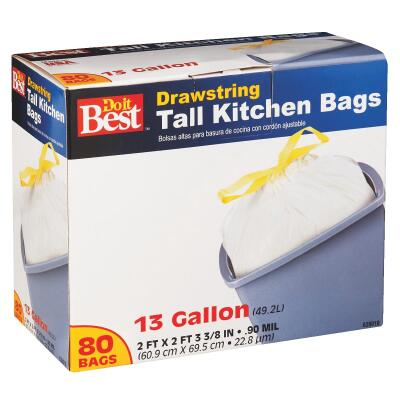 Do it Best 13 Gal. Tall Kitchen White Trash Bag (80-Count)