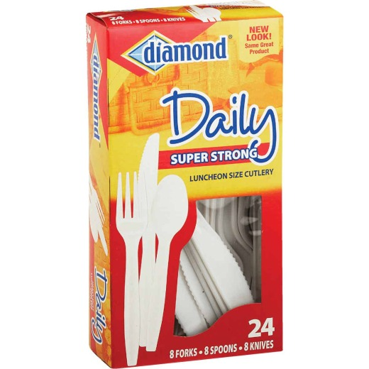 Diamond Heavy-Duty Plastic Cutlery Set (24 Piece)