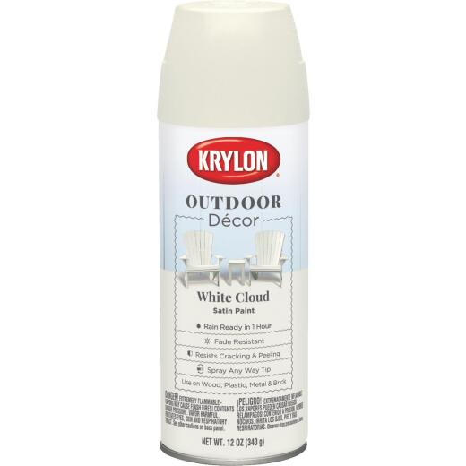 Krylon Outdoor Decor 12 Oz Satin Alkyd Spray Paint, White Cloud