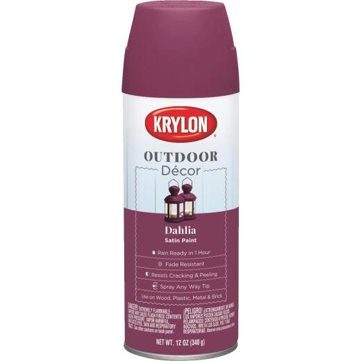 Krylon Outdoor Decor 12 Oz Satin Alkyd Spray Paint, Dahlia