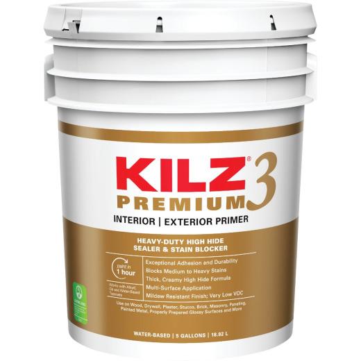 KILZ 3 Premium Water-Base Interior/Exterior Sealer Stain Blocking Primer, White, 5 Gal.
