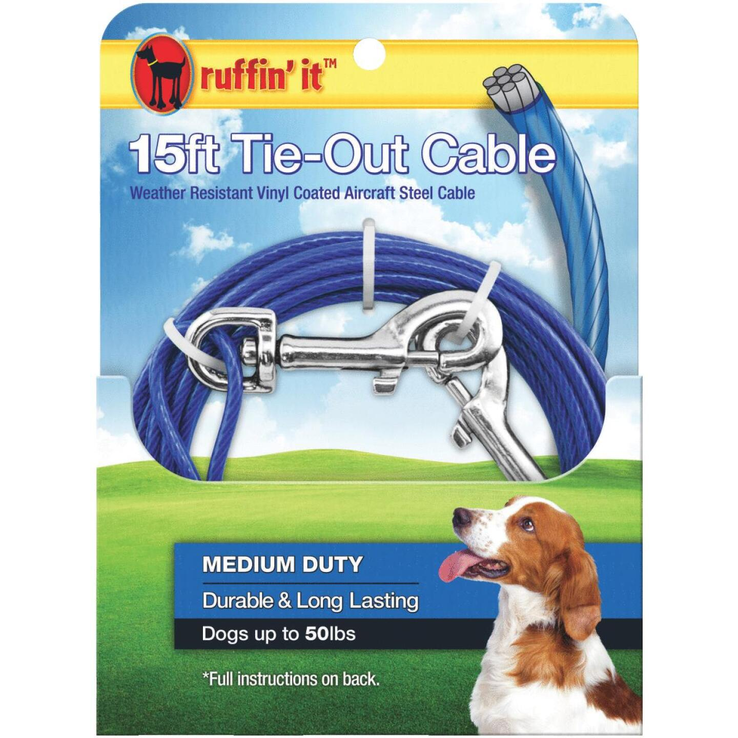 Westminster Pet Ruffin' it Medium-Duty Medium Dog Tie-Out Cable, 15 Ft. Image 1