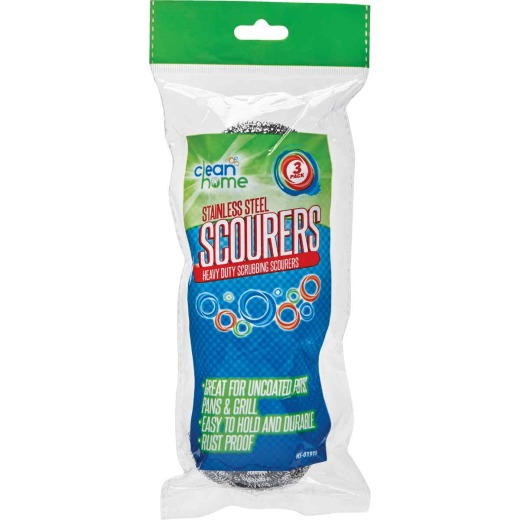 Clean Home Stainless Steel Scourers (3-Pack)