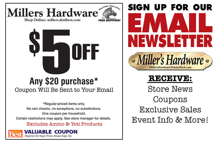 Miller's Hardware Coupon for $5 off any $20 purchase